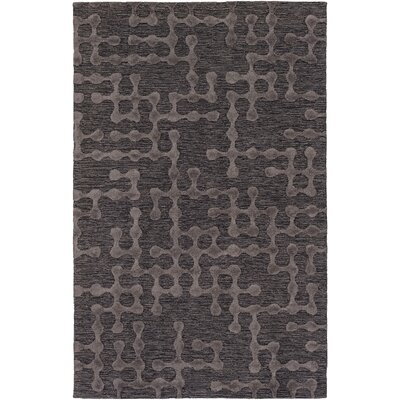 Serpentis Hand-Hooked Charcoal/Black Area Rug Rug size: 9 x 13
