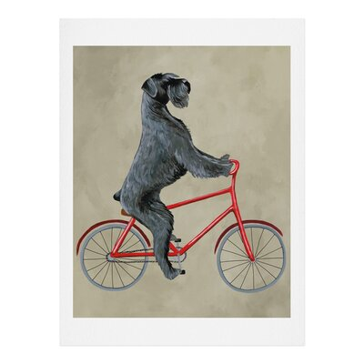 Giant Schnauzer On Bicycle Graphic Art Size: 10