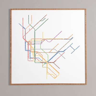 Nyc Subway Map Framed Wall Art Size: 12