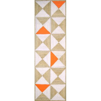 Sherrick Handmade Orange/Beige Area Rug Rug Size: Rectangle 4 x 6