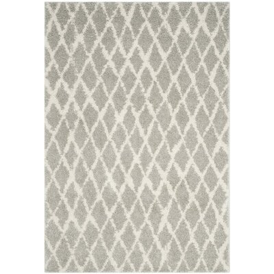 Shier Light Gray/Cream Area Rug Rug Size: 51 x 76