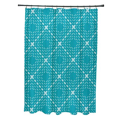 Shirley Dots and Dashes Shower Curtain Color: Aqua