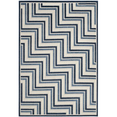 Schaefer Cream/Blue Indoor/Outdoor Area Rug Rug Size: Rectangle 53 x 77