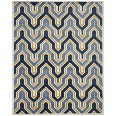 Seto Blue/Gold Indoor/Outdoor Area Rug Rug Size: 3 x 5