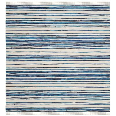 Shinn Hand-Woven Ivory/Blue Area Rug Rug Size: Rectangle 26 x 4
