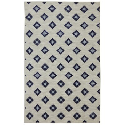 Servin Button Fleur Blue/Cream Area Rug Rug Size: 5 x 8