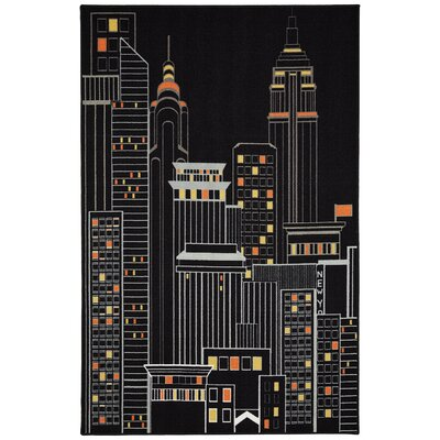 Session New York City Black Area Rug