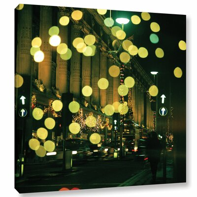 Christmas Lights in Oxford Street Photographic Print on Wrapped Canvas