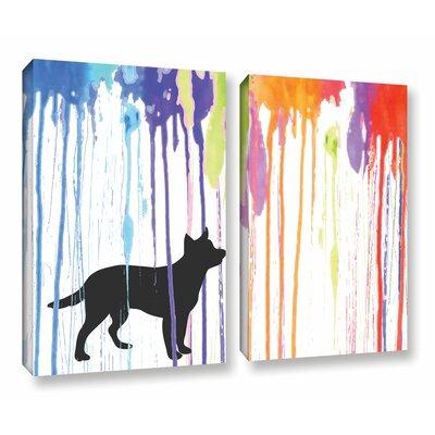 Paint Pup 2 Piece Graphic Art on Wrapped Canvas Set Size: 18