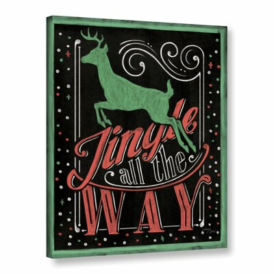 Holiday Chalk Green Red Border Painting Print on Wrapped Canvas