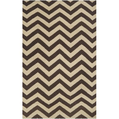 Donley Dark Brown & Cream Area Rug Rug Size: 5 x 8