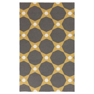 Donley Kelp Brown/Pewter Geometric Area Rug Rug Size: 36 x 56