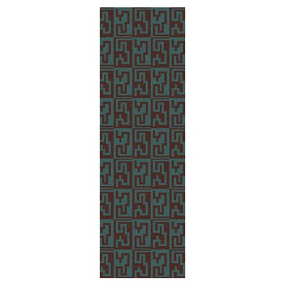 Donley Brown/Malachite Blue Geometric Area Rug Rug Size: 36 x 56