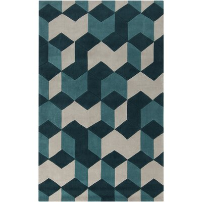 Conroy Teal Blue/Teal Area Rug Rug Size: Rectangle 36 x 56