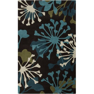 Conroy Espresso/Teal Blue Rug Rug Size: Rectangle 36 x 56