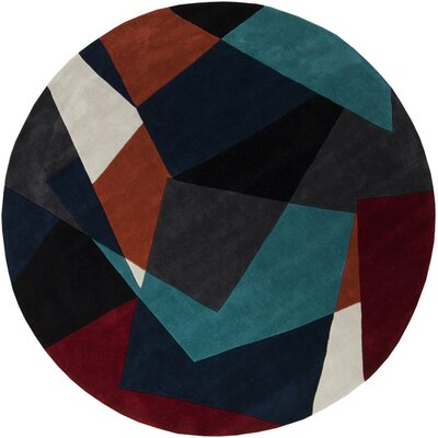 Conroy Teal/Midnight Blue Rug Rug Size: Round 8