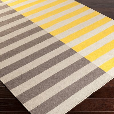 Donley Gold/Gray Striped Area Rug Rug Size: 5 x 8