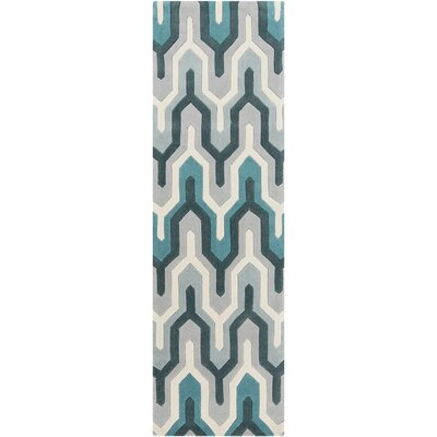 Conroy Teal/Ivory Area Rug Rug Size: 36 x 56