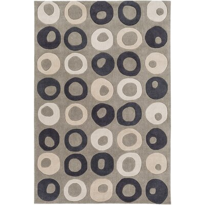 Conroy Hand-Tufted Beige/Black Area Rug Rug size: Rectangle 8 x 11