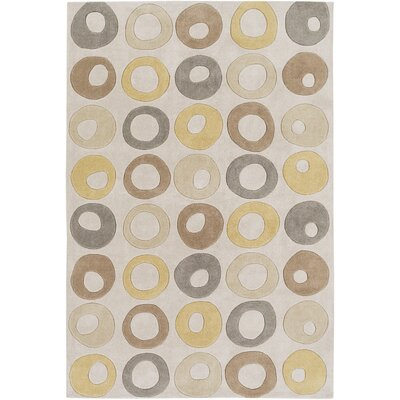 Conroy Hand-Tufted Khaki Area Rug Rug size: Rectangle 36 x 56
