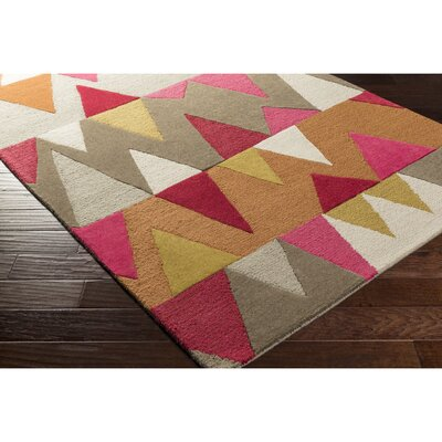 Nida Hand-Tufted Pink/Orange Area Rug Rug Size: 2 x 3