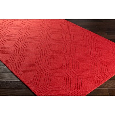 Belle Hand-Loomed Red Area Rug Rug Size: Rectangle 8 x 10