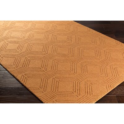 Belle Hand-Loomed Orange Area Rug Rug Size: 2 x 3