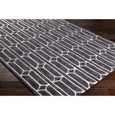 Moultry Hand-Tufted Gray/Black Area Rug Rug Size: 2 x 3