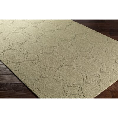 Belle Hand-Loomed Green Area Rug Rug Size: Rectangle 5 x 76