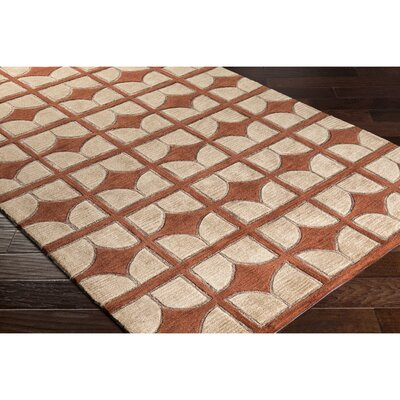 Moultry Hand-Tufted Brown/Red Area Rug Rug Size: Rectangle 5' x 7'6