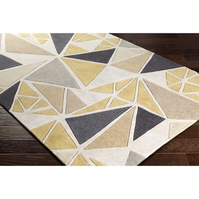 Conroy Hand-Tufted Neutral/Gray Area Rug Rug Size: Round 8