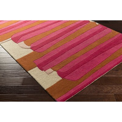 Nida Hand-Tufted Pink/Red Area Rug Rug Size: Rectangle 5 x 76