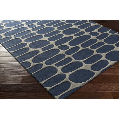 Nida Hand-Tufted Blue/Gray Area Rug Rug Size: 4 x 6