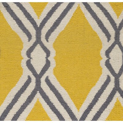 Buttrey Hand-Woven Yellow/Neutral Area Rug Rug Size: Rectangle 5 x 76