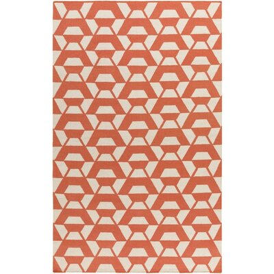 Buttrey Hand-Woven Orange/Neutral Area Rug Rug Size: 8' x 10'