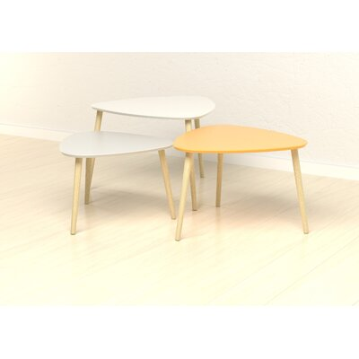 Setliff 3 Piece Coffee Table Set Size: 27.56 H x 28.24 W x 19.69 D, Top Color: White