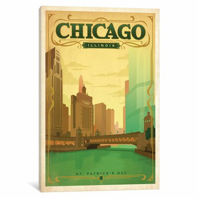 Art & Soul of America American Cities Collection: Chicago, Illinois (Chicago River on St. Patrick's Day) Vintage Advertisement on Wrapped Canvas Size: 12