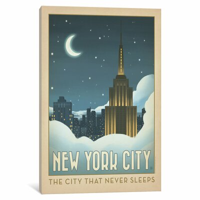 Art & Soul of America American Cities Collection: New York City, New York (Moonlit Clouds) Vintage Advertisement on Wrapped Canvas Size: 12