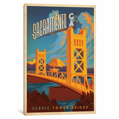Art & Soul of America American Cities Collection: Sacramento, California (Tower Bridge) Vintage Advertisement on Wrapped Canvas Size: 12