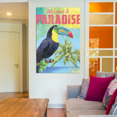 Island Time Parrot Textual Art on Wrapped Canvas Size: 12