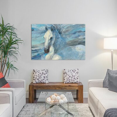 Poseidon Indigo Painting Print on Wrapped Canvas Size: 12