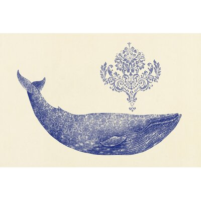 Damask Whale #1 Graphic Art on Wrapped Canvas