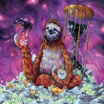 Time Master Sloth Art Graphic Art on Wrapped Canvas
