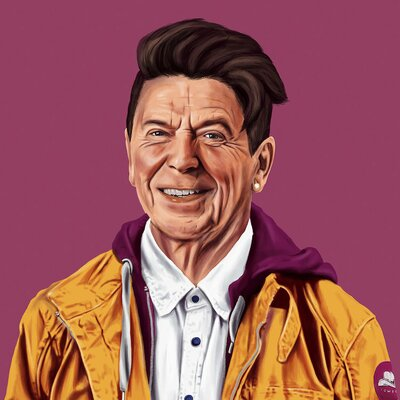 Reagan Painting Print on Wrapped Canvas
