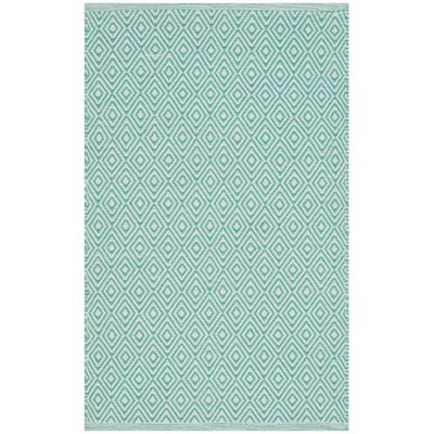 Sessums Hand-Woven Ivory/Aqua Area Rug Rug Size: Rectangle 5 x 8