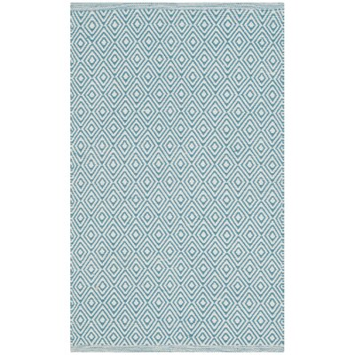 Sessums Hand-Woven Ivory/Light Blue Area Rug Rug Size: Round 6