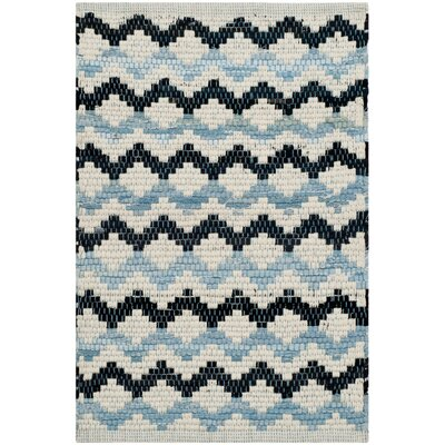 Sessums Hand-Woven Ivory Blue/Black Area Rug Rug Size: Runner 23 x 8