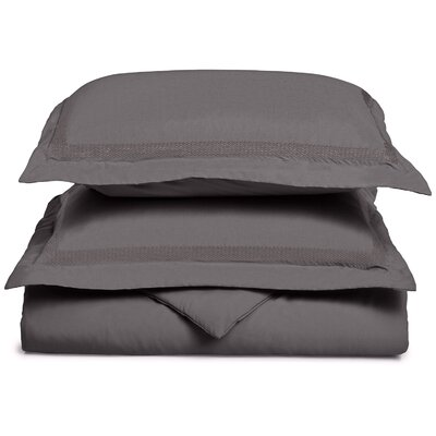 Valier Reversible Duvet Cover Set Color: Charcoal, Size: Full / Queen