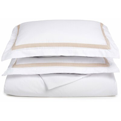 Figueroa Reversible Duvet Cover Set Color: White/Gold, Size: Full / Queen
