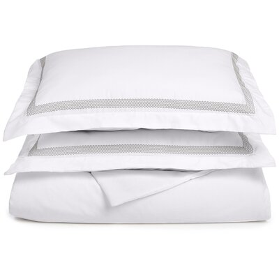 Valier Reversible Duvet Cover Set Color: White/Gray, Size: Full / Queen
